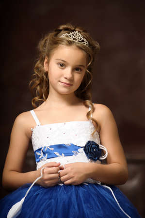 little princess in blue smart dress and tiara Stock Photo - 17370918