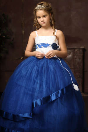 little princess in blue smart dress and tiara Stock Photo - 17370892