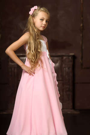 medieval woman: girl in a pink dress stylish retro Stock Photo
