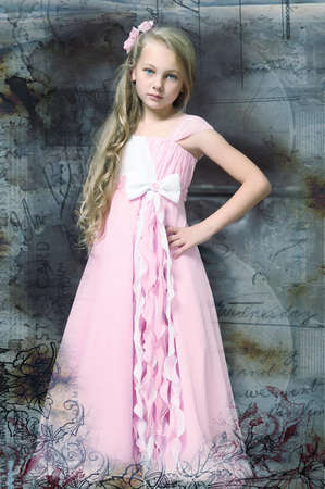 aristocrat: girl in a pink dress stylish retro Stock Photo