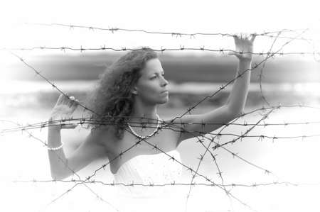 attac: Bride with barbed wire