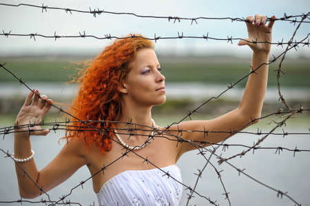 Bride with barbed wire Stock Photo - 15383370