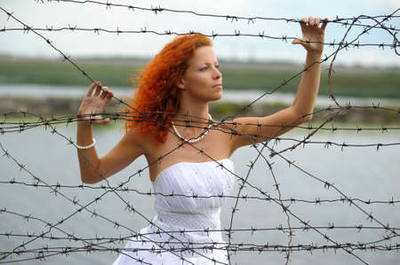 Bride with barbed wire Stock Photo - 15383372