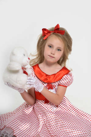 a little girl dressed in the style of the 60s Stock Photo - 15429028