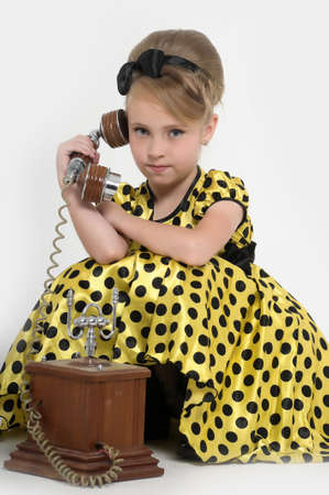 girl with a retro phone Stock Photo - 15429027