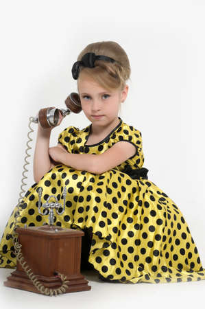 girl with a retro phone Stock Photo - 15429024