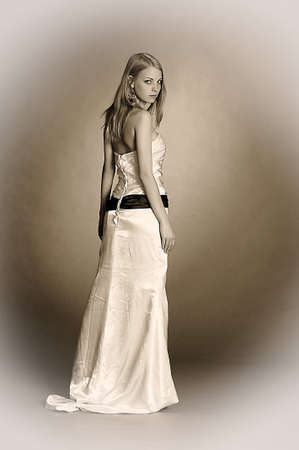 the blonde in a white evening dress photo