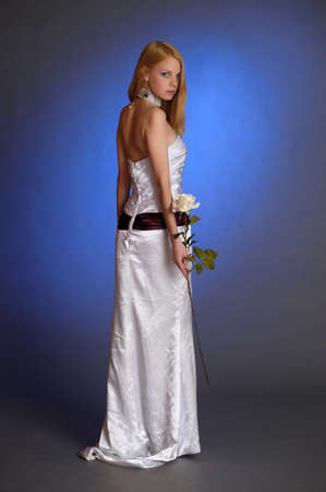 the blonde in a white evening dress Stock Photo - 15421704