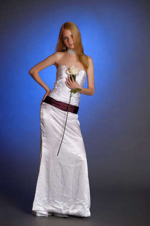 the blonde in a white evening dress Stock Photo - 15421706
