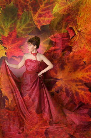 Autumn portrait of a beautiful young woman Stock Photo - 15411253