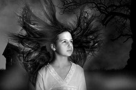 Beautiful witch with long hair Stock Photo - 15353177