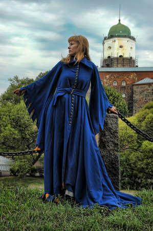 middeleeuwse jurk: vrouw in middeleeuwse kleding Stockfoto