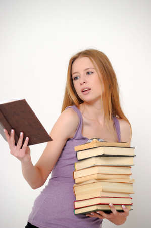 Student with books preparing for exams  photo