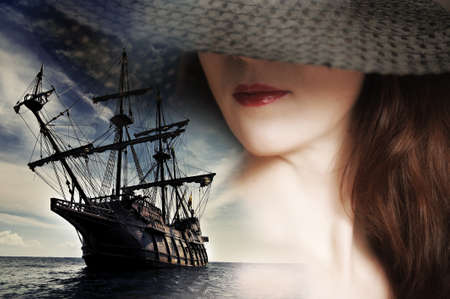 pirate girl: girl and a sailboat
