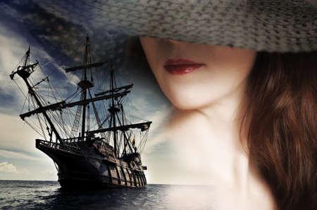 sombrero pirata: ni�a y un velero