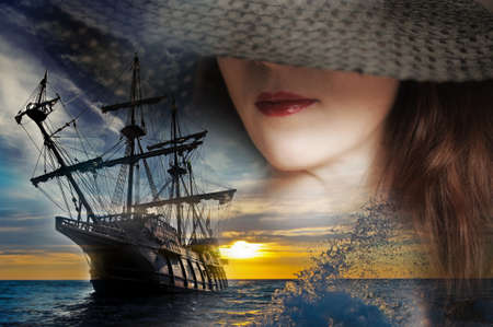 caravelle: fille et un voilier Banque d'images