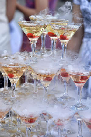 Champagne glasses tower in celebration party Stock Photo - 15476821