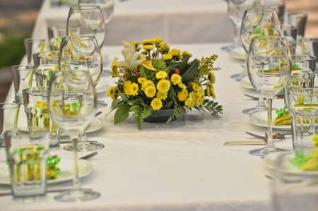 formal place setting: Fancy table set for a wedding lucnh
