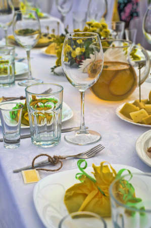 cater: Fancy table set for a wedding lucnh