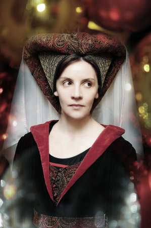 medieval dress: Retrato del estilo medieval de una mujer hermosa