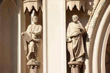 The figures of saints on the Catholic cathedral photo