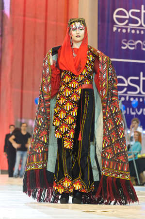 model on podium of festival of beauty Nevskie Berega