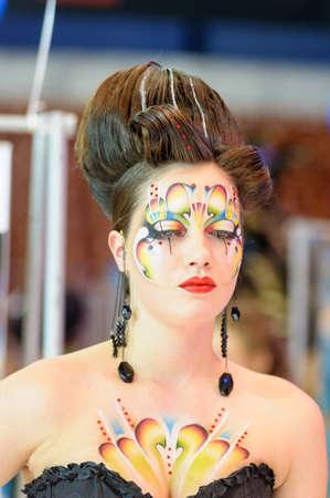 """maquillaje de fantasia: Campeonato Internacional de Exposición de la belleza en la peluquería, Manicura y Diseño y el maquillaje para la Copa de Rusia. Festival Internacional de la Belleza """"Nevskie Berega"""" Rusia, San Petersburgo"""