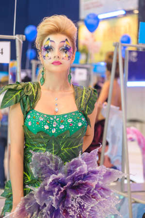green lipstick: International Beauty Expo Championship on Hairdressing, Nail Design and Make-up for the Cup of Russia. International Festival of Beauty Nevskie berega Russia, St. Petersburg