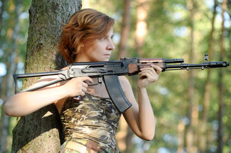 sniper training: woman with a gun