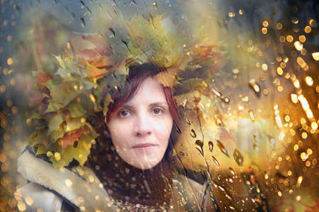 Woman in maple wreath photo