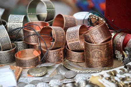 Brass jewelry at handicraft market photo