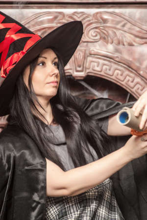 prognostication: Halloween witch Stock Photo