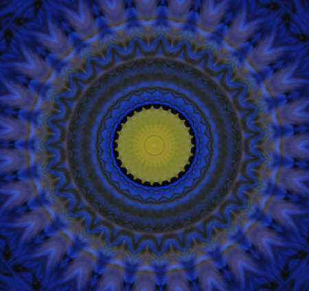 blue and yellow circular ornament photo