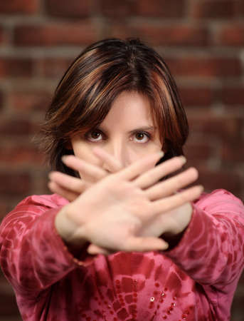 Woman showing stop gesture Stock Photo - 16422980