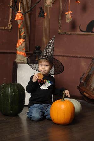 boy in witch hat photo