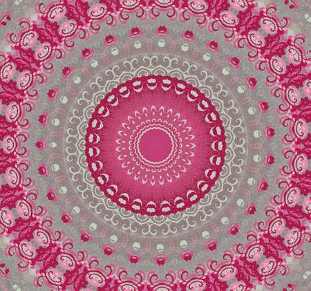 kaleidoscopic: pink with gray circular pattern Stock Photo
