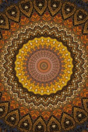 layer mask: brown circular mosaic pattern