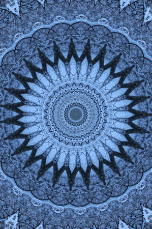 blue oriental ornament circular photo