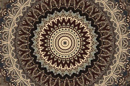 wooden lid: brown circular mosaic pattern