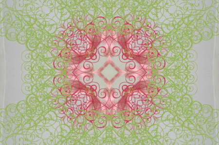 filagree: pink with green pattern