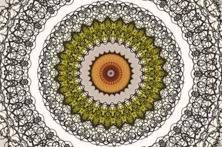 radial cracks: gray and green circular pattern
