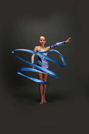 leotard: gymnast with a ribbon