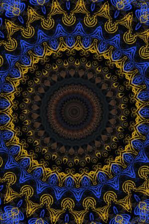 arabisque: blue and yellow circular ornament Stock Photo