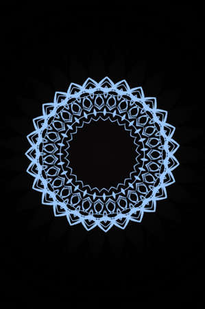 blue circular pattern on a black background photo