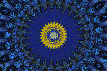 blue with yellow oriental ornament photo