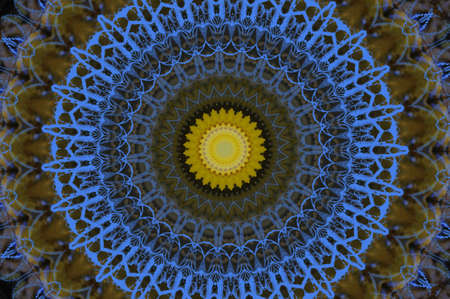 marquetry: blue and yellow pattern