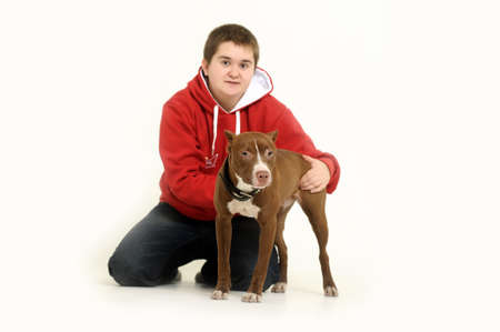 woman with a pit bull photo