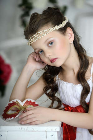 hairband: portrait of a girl with a Victorian style Stock Photo