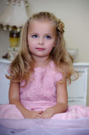 beauty girl pretty: Beautiful little girl pink dress