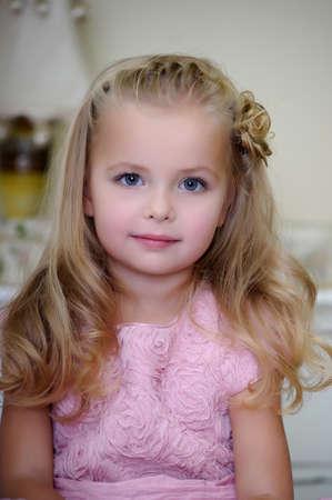 innocent: Little girl in pink dress